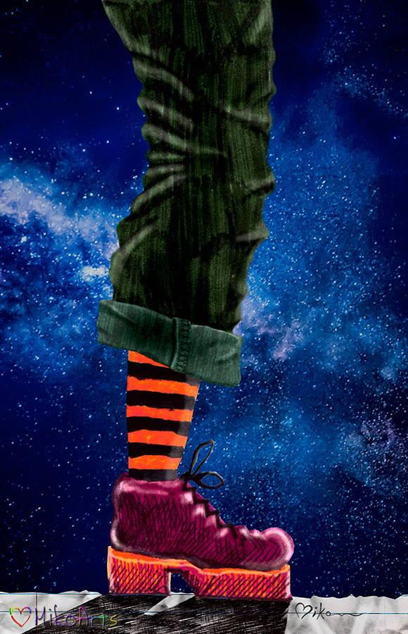 Brave New World Combat Shoes Striped Socks Stars Surreal Art by Miko Arts Zen A