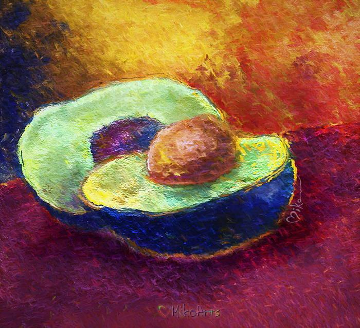 Delicious Avocado Split for Guacamole Salad Impressionism Painting Art by Miko Arts Zen A 1