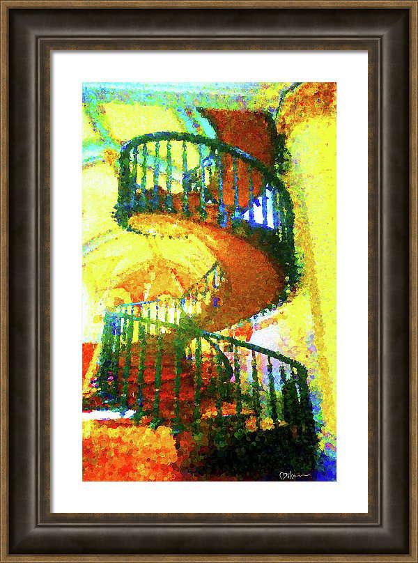Miracle of Loretto Spiral Gift Framed Canvas Print Staircase Santa Fe Colorful Impressionistic Painting Art by Miko Arts Zen A