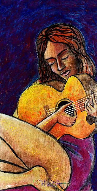 A guitar playing woman sits transfixed with her beloved Spanish Gypsy soul-mate guitar in her lap, eyes closed while finding the perfect next note to accompany her song
