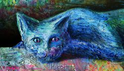 A Van Gogh Kitty Painting... Blue Cat Not Say