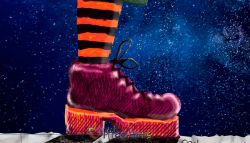 A Starry Combat Boot Painting, Brave New World