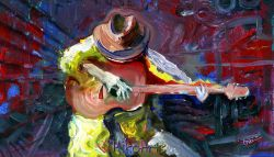 A Blues Guitarist Painting, Feeling the Groove