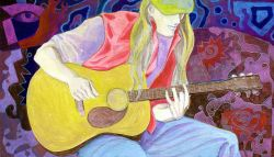 A Guitarist Painting, Chromatic Meanderings in Blue