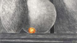 An Expressionist Drawing.. Still Life with Orange